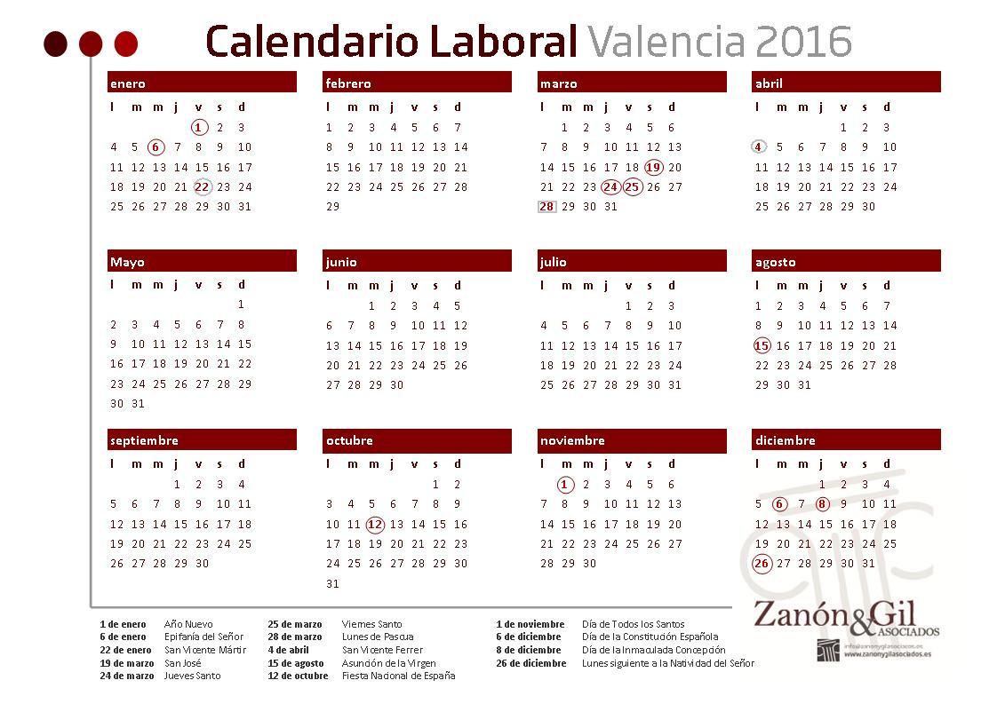 Calendario Laboral De Valencia.Calendario Laboral 2016 Valencia Abogados Y Asesores De Empresas