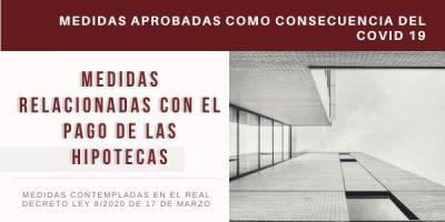 COVID-19 - MEDIDAS RELACIONADAS CON EL PAGO DE LAS HIPOTECAS