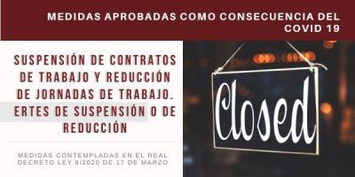 COVID-19 - Suspensión de contratos de trabajo y reducción de jornadas de trabajo. ERTEs de suspensión o de reducción